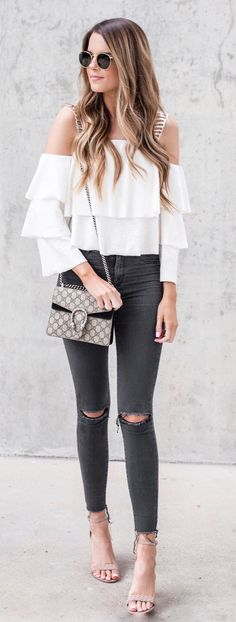 White Open Shoulder Ruffle Top & Black Ripped Skinny Jeans & Grey Sandals