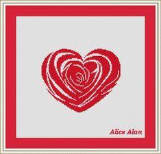 Cross Stitch Pattern Heart Rose monochrome Valentine's day Counted Cross Stitch Pattern /Instant Download Epattern PDF File