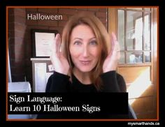 """Learn over 10 signs for Halloween to share with baby or toddler!  """"Halloween"""", """"Pumpkin"""", """"Witch"""", """"Costume"""" and more from My Smart Hands #signlanguage #Halloween"""