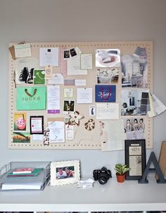 "DIY pin board, above bookshelf for a little SK office ""nook"" in bedroom for orders and inspiration!"