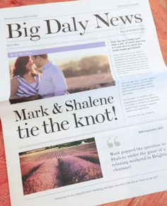"""""""Big Daly News"""" order of Service. The Groom's love for newspapers was the natural choice for this individual style. Beautiful engagement shoot by www.milkbottlephotography.co.uk / @shaleneannice"""