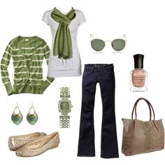 Striped boyfriend cardigan, tank top, pashmina scarf, bell bottoms, jute bag, cite shoes, and pearly sparkled accessories. Lime green, navy, bright white, and tan.