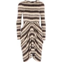 Thakoon Gathered striped brushed-knit dress (£389) ❤ liked on Polyvore featuring dresses, dark brown, stripe dresses, loose fit dress, ruched dress, dark brown dress and fitted dresses