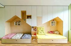 Modern kids room from www.anotherstudio.eu ... shared room with beds which are built in wardrobes in house shaped openings. #kidsroom #sharedroom #childreninterior #housebed #builtinbed #boysroom #girlsroom #modernkidsroom #plywood #decijesobe #decijinamestaj #decijienterijeri #decijidizajn #namestajpomeri