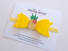 Hey, I found this really awesome Etsy listing at https://www.etsy.com/listing/225131372/yellow-pineapple-felt-bow-headband-baby
