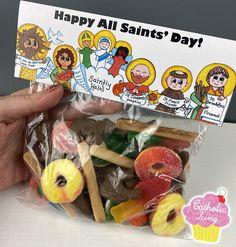 Catholic Crafts, Catholic Kids, Catholic Catechism, Chocolate Coins, Hershey Chocolate, Catholic Icing, Saints For Kids, Gummy Fish, St Food