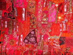 tissu mural indien patchwork rose fuchsia couture. Black Bedroom Furniture Sets. Home Design Ideas