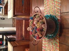 Sweet gum balls spray painted multi colored and used as a centerpiece Pine Cone Crafts, Tree Crafts, Diy And Crafts, Crafts For Kids, Arts And Crafts, Seed Art, Sweet Gum, Shabby Chic Christmas, Primitive Crafts