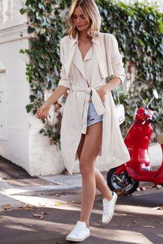 sporty chic outfit with trench coat