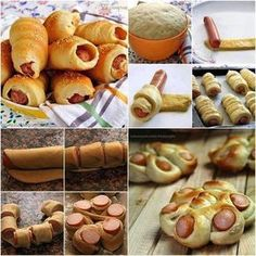How to Make Easy Sausage Rolls in 2 Ways tutorial and instruction Sausage Bread, Sausage Rolls, Hot Dog Rolls, Bread Shaping, Bread Art, Dog Bread, Good Food, Yummy Food, Breakfast Pastries