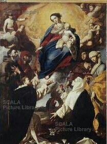 Massimo Stanzione. 1643. Madonna del Rosario. Basilica di San Lorenzo Maggiore a Napoli
