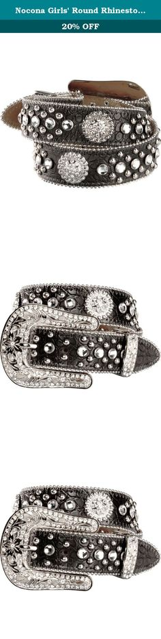 "Nocona Girls' Round Rhinestone Concho Belt Black 26. If your young cowgirl loves western bling, this is the Nocona belt for her Girl's Nocona belt is in a trendy crocodile print. Scalloped edges are highlighted with silver-tone beads. Rhinestone encrusted concho accents. Girls' western belt measures 1 1/2"" wide. Imported."