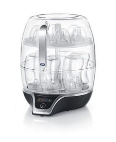 Boots Electric Steam unit sterilises up to six wide-necked bottles or breastfeeding accessories, including breast pump in less than five minutes.