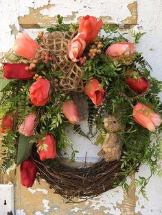 Easter Wreath Easter Bunny Wreath Spring Wreath by FlowerPowerOhio