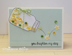 Sweet and sparkly! Lawn Fawn - Summertime Charm stamps and dies, Flying by, Daphne's Closet paper, Lime Lawn Trimmings _ Charlene's Studio Ink: You Brighten My Day (Feb'16)