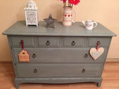 Vintage Shabby Chic Stag Minstrel Chest of Drawers Annie Sloan Duck Egg Blue