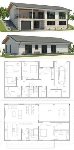Sloping lot house plan, House design, floor plan, affordable home, house plan.