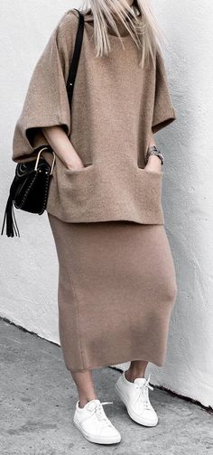 cozy winter inspiration / bag + nude set + sneakers