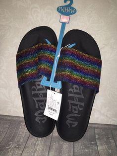 abd70eb7ceb741 Womens Mad Love Black Milena Slide Sandal Slip On Glitter Unicorn Rainbow  Size 9  fashion