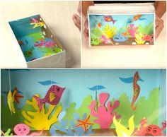 Unterwasserwelt im Schuhkarton aus buntem Papier basteln