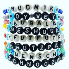 Oy Vey! Did you know that Chanukah falls on the same day as Christmas this year? ... otherwise known as 'Chrismukkah'. Well we have the perfect gifts for your Jewish friends this year. Schmooze your way through the holiday season with our new handmade 'Yinglish' (Yiddish/English) phrase glass bead bracelets.  Choose the word or phrase of your choice from our variety of well known and best loved Yiddish words and phrases together with your choice of alphabet bead & glass bead colours.