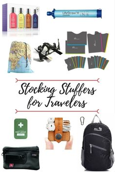 Stocking stuffers for travelers, all under $20! The practical, the useful and the silly all in our recommended list. #giftguide #christmasshopping