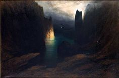 Porto Antico Capri, 1906 by Karl Wilhelm Diefenbach (German:1851-1913)