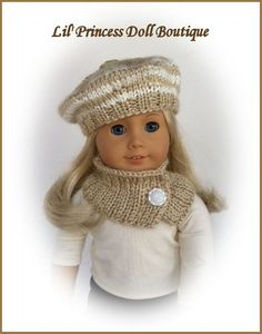 Hand Knit Beret and Cowl for American Girl Dolls, Beige and Ivory, 18 Inch Doll Clothes