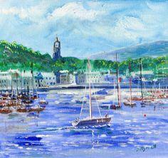 Tarbert Argyll fishing port harbour oil painting Scottish artist - David Tyrrell  | eBay