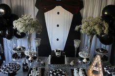 Gabriela Events's Birthday / Tuxedo - Adult Birthday Party at Catch My Party Chanel Birthday Party, 90th Birthday Parties, Adult Birthday Party, Birthday Celebration, Husband Birthday, Man Birthday, Man Party, Wedding Balloons, Backdrops For Parties