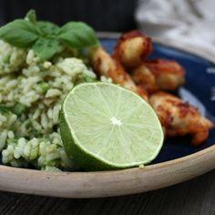 Kylling i sennepscrust med grønne ris