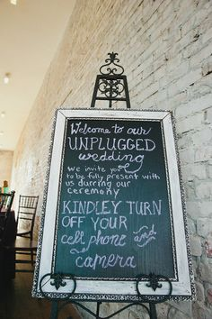 "Love this idea! Keep your wedding #unplugged and ask guests not to take pictures or video during the ceremony so that they are more ""in the moment"""