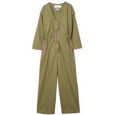 MANGO Zipped organic cotton jumpsuit found on Polyvore featuring jumpsuits, khaki, mango jumpsuit, jump suit, zip jumpsuit, long sleeve jump suit and long sleeve jumpsuit