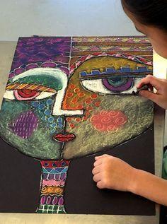 Self-Portraits Sandra Silberzweig inspired self portraits from small hands big art - a fun chalk pastel art lesson!Sandra Silberzweig inspired self portraits from small hands big art - a fun chalk pastel art lesson! Kids Art Class, Art For Kids, Self Portrait Kids, Portrait Art, Cubist Portraits, Abstract Portrait, Club D'art, Classe D'art, Chalk Pastel Art
