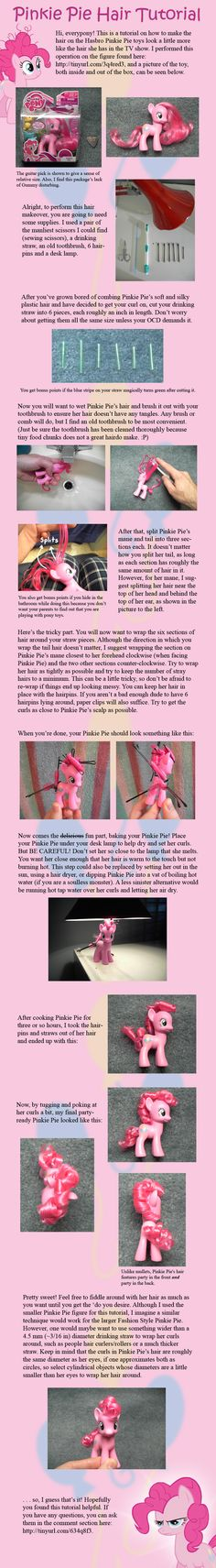 Pinkie Pie Hair Tutorial by ~countschlick on deviantART Awwwww how cute