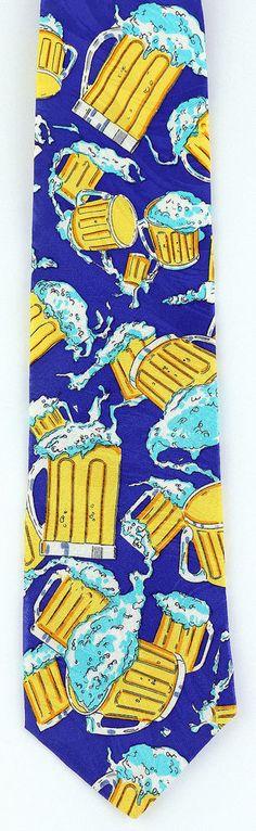 New Beer Mugs Mens Neck Tie Alcohol Ale Bar Pub St Patricks Day Silk Necktie  #DiCravatte #NeckTie