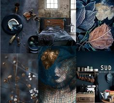 dark & warm mood board