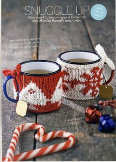 FAIR ISLE Christmas Mug Cosies Knitting Pattern ~ by PatternaliaVintage