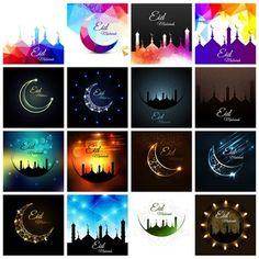Eid mubarak background set