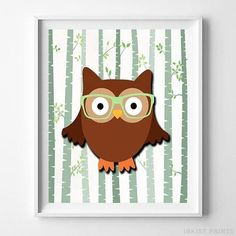 Woodland Owl White Background posters by Inkist Prints! This unique nursery decor print will make a great addition to any nursery and kids room. It would also be a great gift for baby shower and birthday. Baby Room Wall Art, Nursery Artwork, Nursery Room Decor, Woodland Animal Nursery, Woodland Baby, Artwork Prints, Poster Prints, Owl Pet, Kunst Poster