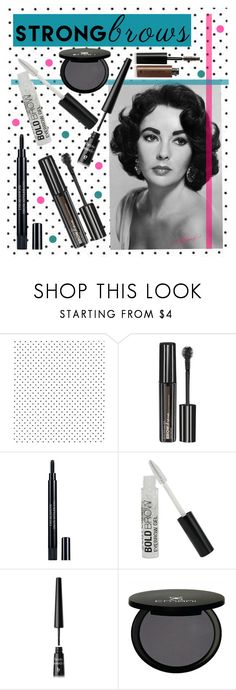 """Raise Your Brows"" by gabygrach ❤ liked on Polyvore featuring beauty, Maybelline, Christian Dior, BBrowBar, Emani and Illamasqua"