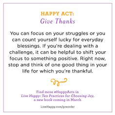 Happy Acts   Focus on your blessings   Share your own #HappyActs