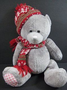 "9"" Gray CHRISTMAS PATCHY BEAR Soft Stuffed Animal Plush Toy B259"