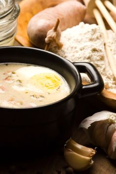 "We feature a popular Polish soup recipe usually made during Easter, called Zurek. What makes this zurek recipe (pronounced ""zhurek"") so exotic is that zakwas is used for the soup base. Zakwas is made from fermenting rye flour and water. Soup Recipes, Cooking Recipes, Chilli Recipes, Dinner Recipes, Polish Soup, Hungarian Cuisine, European Cuisine, Polish"