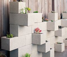 Cinder Block Planters - Repurpose old blocks as a really cool lego style container wall - perfect for small plants like herbs & succulents.