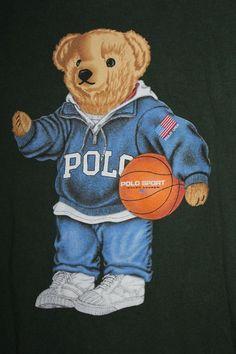 Polo Bear T Shirt Ralph Lauren Teddy Green Basketball USA Sport Mens Medium  #PoloRalphLauren #GraphicTee
