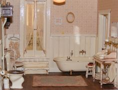 Miniatures, dollhouse bathroom.