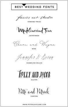 Top 5 Predictions for Wedding Invitations for 20146 Best Wedding Fonts for Free Font CollectionPretty Letters Calligraphy Fonts, Typography Letters, Typography Design, Wedding Calligraphy, Fancy Fonts, Cool Fonts, Typographie Fonts, Typographie Inspiration, Wedding Fonts