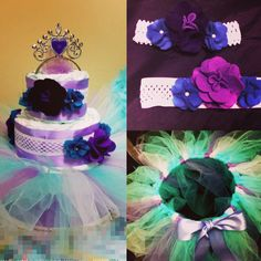 "Diaper cake ""ballerina"" 100% reusable diapers and decorations (DIY felt flower headband and tutu)."
