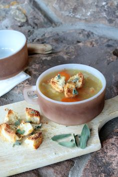 Soup with Sage Croutons on AnAppealingPlan.com by @KraylFunch soup ...